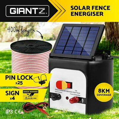 8km Solar Electric Fence Energiser Power Charger 0.3J Farm Poly Tape Insulator