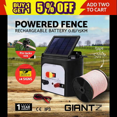 15km Solar Electric Fence Energiser Power Charger 0.8J Farm Poly Tape Insulator