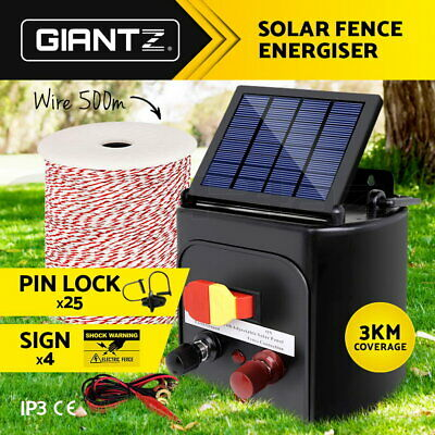 Giantz 3km Solar Powered Electric Fence Energiser Battery Energizer Charger Tape