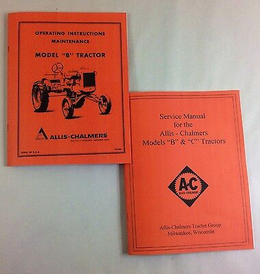 Allis Chalmers Model B Tractor Service Operators Owners Manuals Repair Shop
