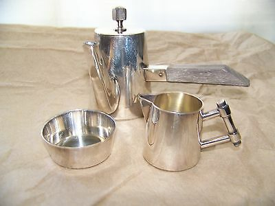 3 Pc Miniature Coffee Service Lot, Artur Krupp Berndorf, Art Deco, Silverplate