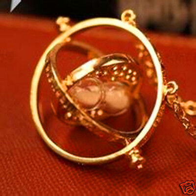 Film Time Turner Necklace Hermione Granger Rotating Spins Gold Hourglass