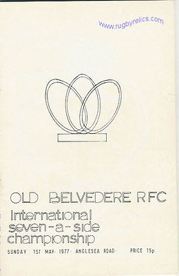 OLD BELVEDERE INTERNATIONAL SEVENS 1977 RUGBY PROGRAMME at ANGLESEA ROAD, DUBLIN