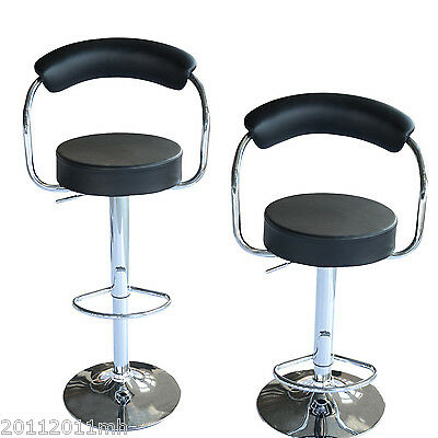 HOMCOM Faux Leather Swivel Bar Stool Kitchen Dinning Chair Adjustable Set of 2