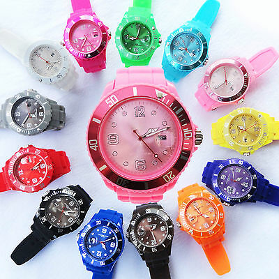 NEW Wrist Unisex Watch Silicone Jelly Candy Sport Dial Quartz with DATE calendar