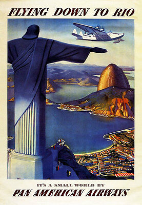 TT4 Vintage Flying Down To Rio Travel Airlines Poster Re-Print A4