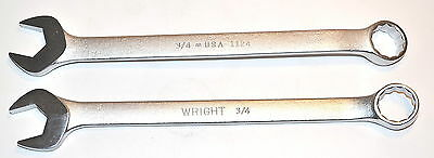 """2 NOS Wright Tools USA machinist mechanic 3/4"""" 12-PT COMBINATION WRENCH #1124"""