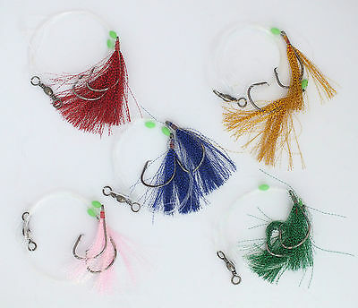 Snapper Feather Fishing Jig Rigs X 5, Strong Circle Hooks, Lumo Beads, 5 Colours
