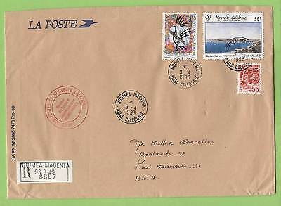 New Caledonia 1993 multifranked registered cover