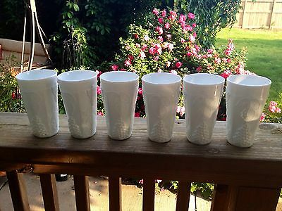 SET OF 6 VINTAGE MILK GLASS INDIANA GLASS  ICE TEA GLASSES or TUMBLERS