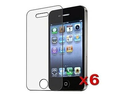 6XTransparent Clear Screen Protector for iPhone 4S / 4G HD w/Lint Cleaning Cloth