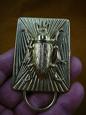 (E-806) large Cockroach on rectangle brass Eyeglass pin pendant ID badge holder
