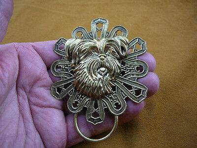 (E-821) Yorkshire terrier dog Westie brass Eyeglass pin pendant ID badge holder