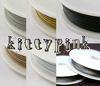 50 Metre Roll 0.45mm Quality Tiger Tail Wire Jewellery Beading Necklace 5 Colour