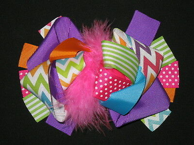 """NEW /""""HAPPY TURKEY DAY/"""" Fur Hairbow Alligator Clips Girls Ribbon Bows 5.5 Inches"""