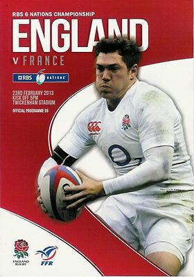 ENGLAND v FRANCE 23 Feb 2013 RUGBY PROGRAMME at TWICKENHAM