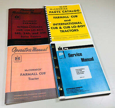 Farmall Cub Ih Tractor Manual Set Operators Service Repair Maintenance Parts