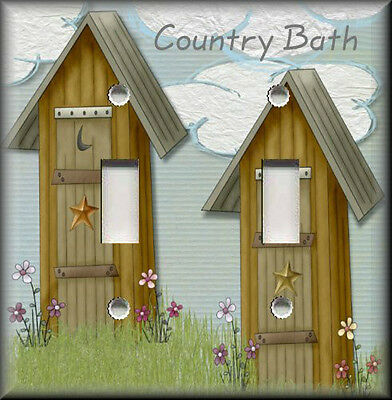 Metal Light Switch Plate Cover - Country Bath Outhouse Home Decor Country Decor