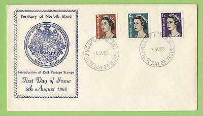 Norfolk Island 1968 Coil stamps on First Day Cover