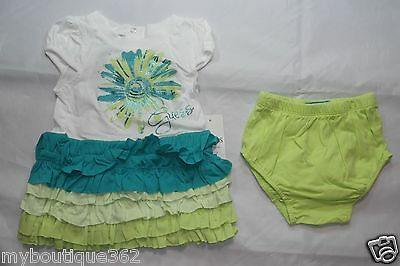 GUESS BABY GIRLS DRESS SET GREEN MULTI SZ 24 MOS (DRESS & PANTY) NEW NWT