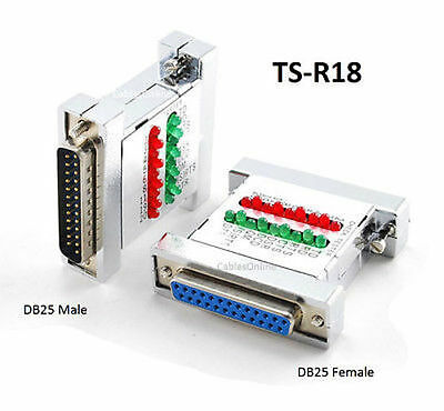RS232 DB25 Male/Female 18 LED Multi-Line Status Tester Adapter, TS-R18