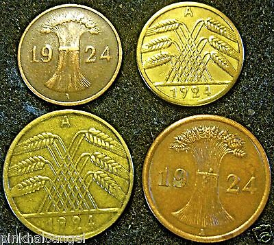 Germany -  4 Coin Collection - German 1924A 1 - 2 - 5 & 10 Rentenpfennig Coins