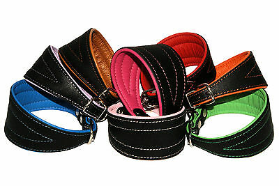 GREYHOUND SALUKI LURCHER WHIPPET Real Leather Handmade DOG PUPPY COLLAR Black