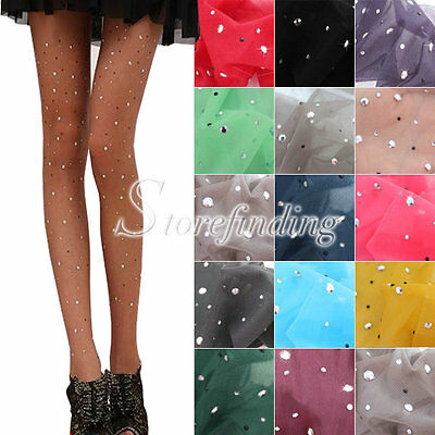 Woman's Sexy Thin Bling Crystal Embellish Pantyhose Tights Stockings One Size