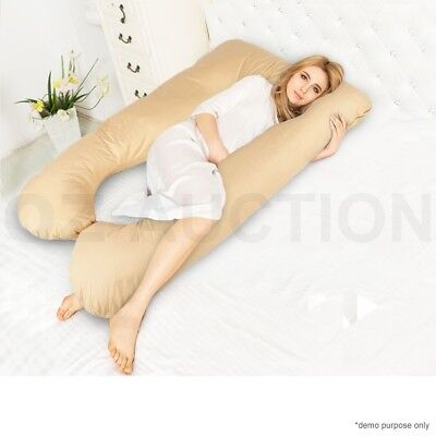 Maternity Pregnancy Nursing Sleeping Body Support Feeding Boyfriend Pillow Beige