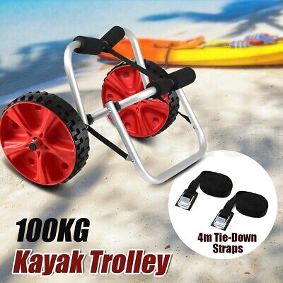 Aluminum Collapsible Kayak Trolley Kickstand Canoe Wheel Cart Boat Carrier Ski