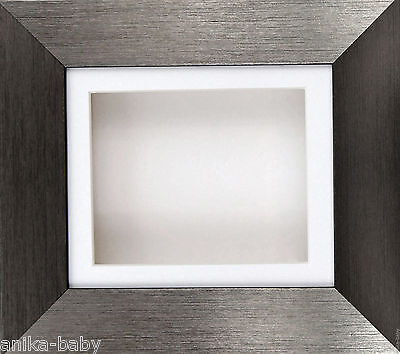 Pewter effect Deep Box Display Frame 2D 3D Art Baby Casts Medals Crafts Objects