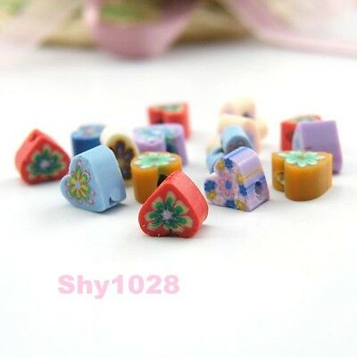 65Pcs Mixed Color Fimo Polymer Clay Heart Spacer Beads 7mm B404