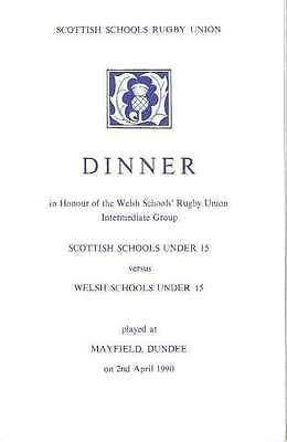 SCOTLAND v WALES UNDER 15 2 Mar 1990 RUGBY DINNER MENU CARD