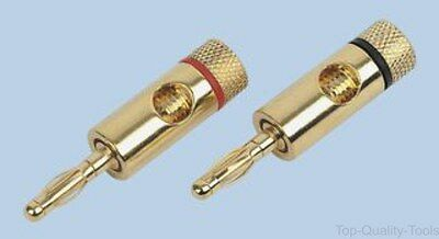 Banana Test Connector, 4mm, Plug, Cable Mount, Gold Plated Contacts, Red