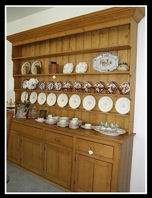 Huge Antique French Country Breakfront Dresser 10' Buffet