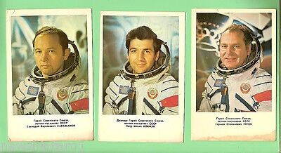 #d48. Five Large Russian Cosmonaut Space Cards