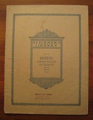 Berens Newest School Of Velocity Piano Sheet Music Anthology Copyright 1894 (O)