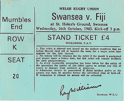 SWANSEA v FIJI 16 Oct 1985 RUGBY TICKET