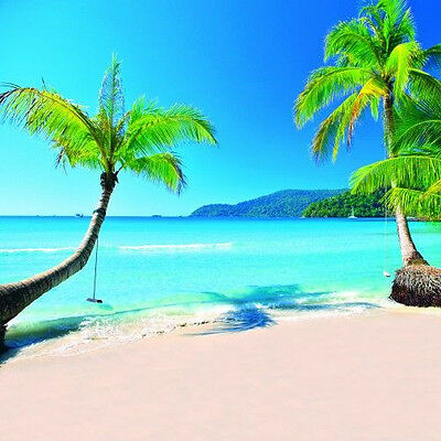 Tropical beach 10'x10' CP Backdrop Computer-painted Scenic Background DT-12-121