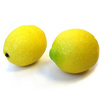 2 Artificial Lemons - Realistic Decorative Plastic Lemon - Ornamental Fruit