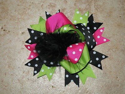 """NEW /""""Lime Pink Black/"""" Fur Hairbow Alligator Clips Girls Ribbon Bows 4.5 Inches"""