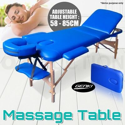 Portable 3 Fold Wooden Massage Table Chair Therapy Bed Foldable with Carry Bag