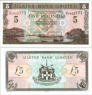 COLORFUL NORTHERN IRELAND 5 POUNDS P-335b, 2001 - UNC!