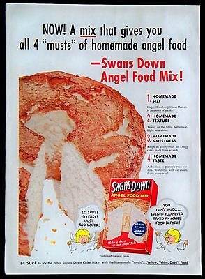 1954 Swans Down Angel Food Cake Mix Magazine Print Ad