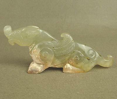 WONDROUS WITH CARVED CHINESE OLD JADE STATUE MYTHICAL BEAST