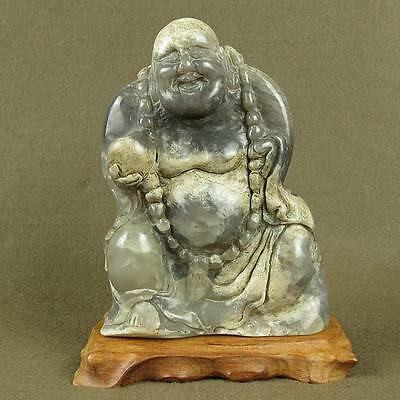 STUNNING WITH CARVED OLD CHINESE ANTIQUE JADE STATUE BUDDHA