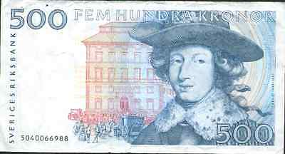 Sweden 500 Kronor. P 58. Blue Type. Very Rare. Vf Condition