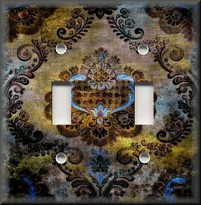 Metal Light Switch Plate Cover - Boho Gypsy Damask Home Decor - Brown Blue