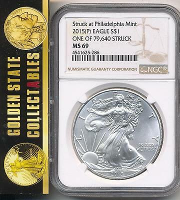 2015 (P) $1 American Silver Eagle NGC MS69 1 of 79,640 Struck at Philadelphia