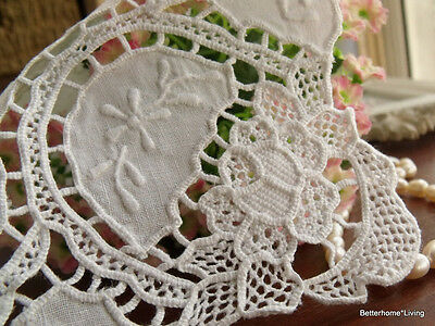 Point De Venise Needle Lace Embroidered~Vtg. Linen Bridal Wedding Hanky Heirloom